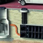 Die unterirdische Entwässerung erfolgt über das modulare Rigolensystem Stormbrixx. Es findet als Blockspeicher oder als Blockversickerung von Niederschlagswasser Einsatz. Bild: Aco