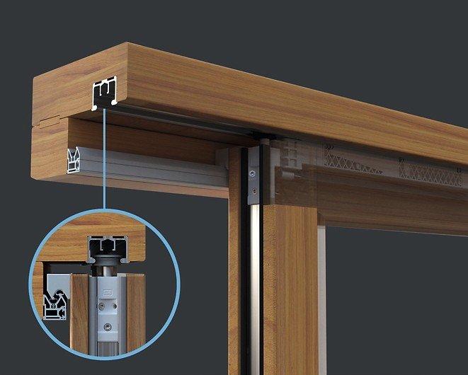 Schaubild einer Glasschiebetür mit einer Detailansicht der Laufradleiste. Bild: Siegenia