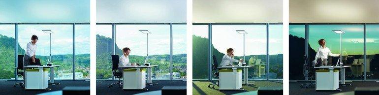 Bilderreihe einer Person am Büroschreibtisch über unterschiedliche Tageszeiten hinweg. Bild: Waldmann
