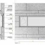 Detail Fassadenschnitt. Zeichnung:Bottega + Ehrhardt Architekten