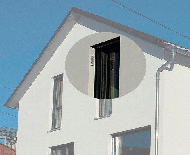 Dezentrales Lüftungssystem mit unauffälligem Ausgang an der Hausfassade. Bild: Roos