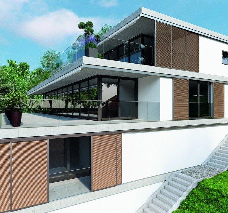 Über drei Etagen terrassenartig gestaffeltes Haus mit hölzernen Schiebeläden. Bild: Hawa