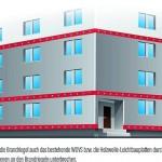 Brandschutzmaßnahmen gegen Sockelbrand für schwerentflammbare WDVS mit EPS. Beispielhafte Darstellung in der Regelanwendung. Bild: Fachverband Wärmedämm-Verbundsysteme e.V.