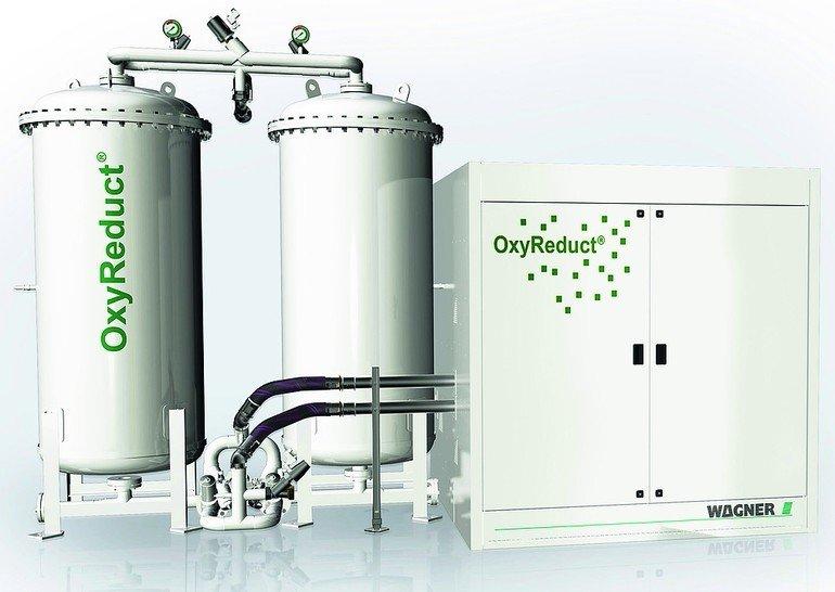 Die OxyReduct-Anlage senkt die Sauerstoffkonzentration unter die Entzündungsgrenze der im Lager vorherrschenden Materialien ab. Bild: Wagner