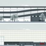 Ansicht Ost (oben) und West (unten). Zeichnung: © merz objektbau GmbH & Co. KG, Aalen