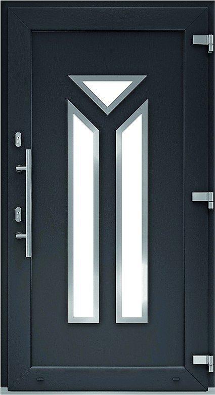 Eingangstür mit drei Milchglasfenstern. Bild: Drutex