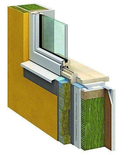 Schnitt durch ein Fenster sowie die darum liegende Wanddämmung. Bild: Fermacell GmbH