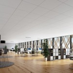 Helles Großraumbüro mit Holzboden. Bild: Rockwool Rockfon