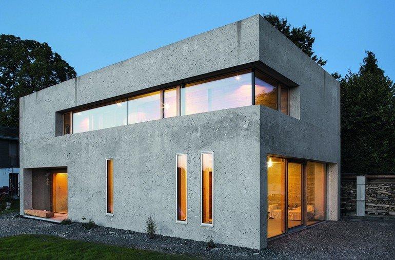 Wohnhaus aus Dämmbeton als Sichtbeton