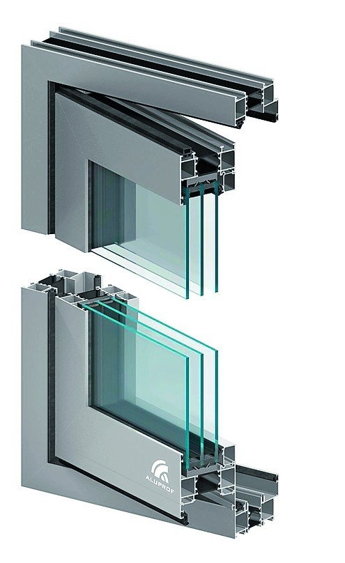 Schnitt durch die obere und untere Ecke eines Fensters mit dem dazugehörigen Rahmen. Bild: Aluprof