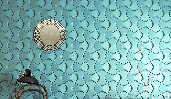 Türkise Wandkacheln erzeugen durch ihre ungewöhnliche Form den Effekt fließenden Wassers. Bild: NMC