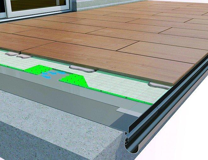 Graphik zum Wasserabfluss auf einem Balkon. Abgerundete Fassade mit hellgrünen Lamellen. Bild: Gutjahr