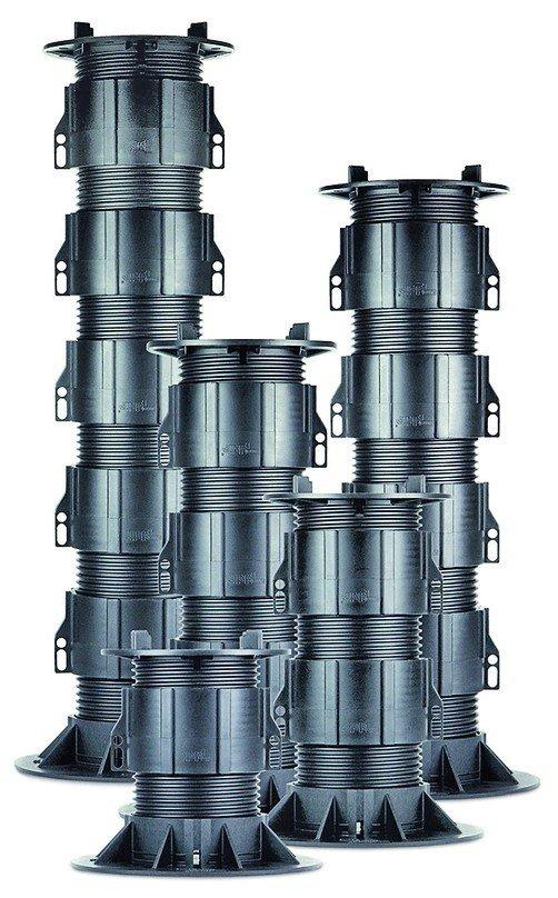 Höhenverstellbare Stelz- und Plattenlager für Terrassen. Bild: Proline Systems