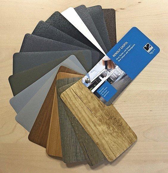 Unterschiedliche Farben und Designs einer Produktpalette. Bild: Renolit SE