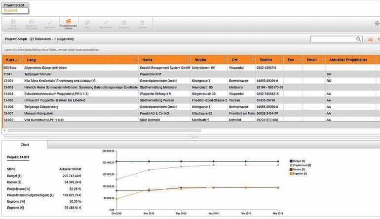 Projektcontrolling: Übersicht zu wichtigen Kennziffern. Bild: Kobold Management Systeme GmbH