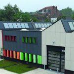 Flachdachentwässerung mit zweiteiligem Dachgully beim Neubau eines Gewerbeparks bei Brüssel