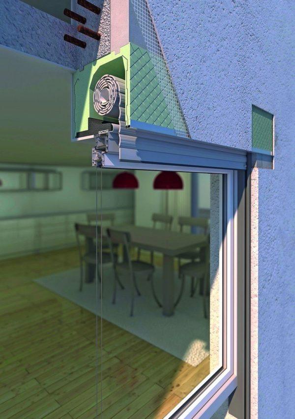 Schnitt durch ein Fenster mit Rollladenkasten. Bild: Beck+Heun