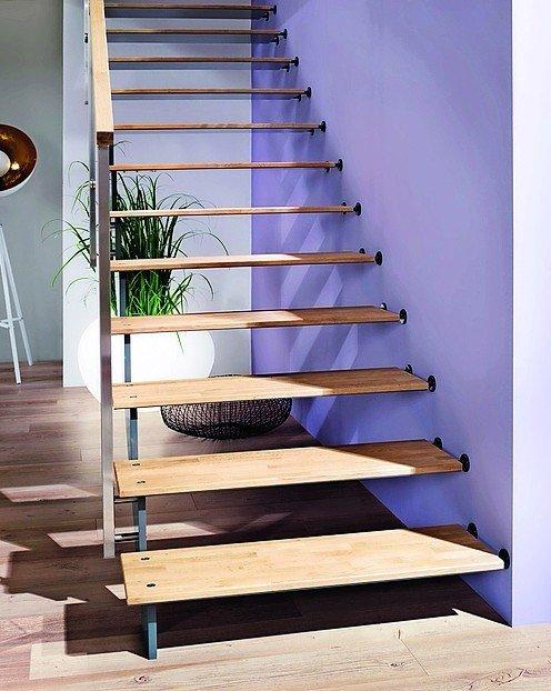 Stahltreppe mit Holzstufen. Bild: Treppenmeister GmbH
