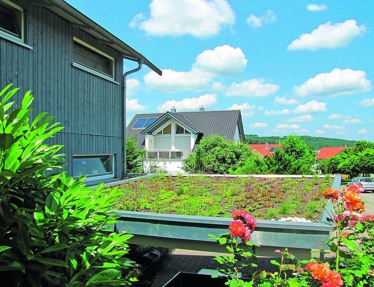 Carport mit Dachbegrünung. Bild: Bauder