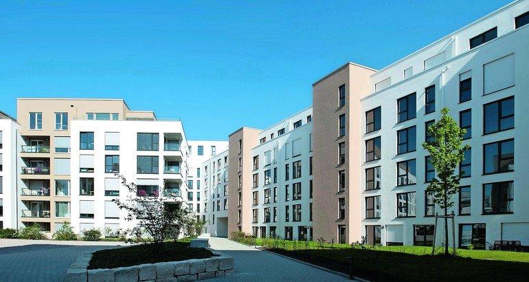 Die hochwertigen Eigentumswohnungen in der Karlsruher Luisenstraße wurden mit erhöhtem Treppen-Trittschallschutz und Trittschalldämmung gebaut. Bilder: Schöck Bauteile GmbH
