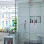 Dusche mit Glaswänden. Bild: wedi
