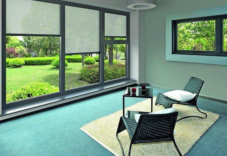 tuchverschattung f r fenster mit ausblick. Black Bedroom Furniture Sets. Home Design Ideas