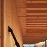 Große Spannweite lässt sich durch die Massivholzdecke aus Doppelrippen-Elementen erreichen. Bild: Steffen Holzbau, Grevenmacher/LU