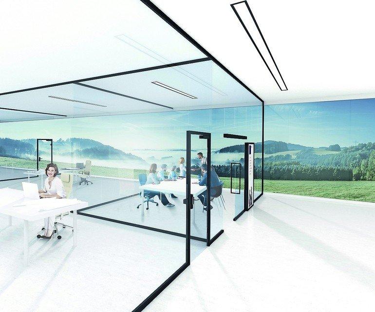 Glastrennwand-System mit frei kombinierbaren Komponenten. Bild: dormakaba