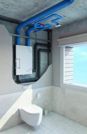 Lüftungslösung mit Wärmerückgewinnung für Mehrgeschosswohnbauten.