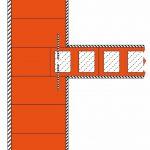 Vverzahnte Ausführung bei Ziegelmauerwerk: Für eingebundene Wände empfiehlt die Ziegelindustrie einen Restquerschnitt der durchlaufenden Außenwand von 24 cm, was bei klassischen Außenwanddicken eine Einbindetiefe der Trennwand von mindestens 12,5 cm bedeutet. Bild: Unipor