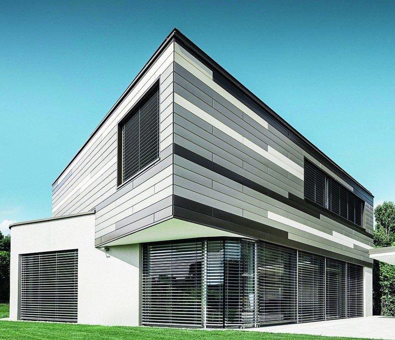 prefa fassade aus aluminium sidings im markanten farbenspiel. Black Bedroom Furniture Sets. Home Design Ideas
