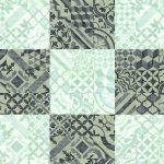 Quadratförmig angeordnete Muster in dunklen und hellen Türkisfarben. Bild: wineo