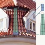 Im konvexen Bereich des runden Daches setzte man A-Keile ein.