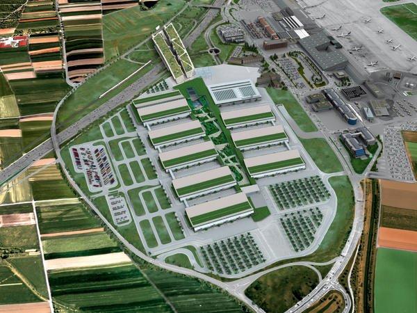 Animiertes Luftbild der Neuen Messe Stuttgart: Sieben Standardhallen, Hochhalle, Kongresszentrum, Parkhaus (rechts: Flughafen).