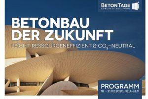 Vom 18. bis 21. Februar 2020 finden in Neu-Ulm die 64. BetonTage unter dem Motto Betonbau der Zukunft – leicht, ressourceneffizient, CO2-neutral statt.