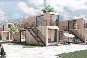 In Wertheim entsteht derzeit ein »Wohnen auf Zeit Quartier«, das aus 21 zu Wohnraum veredelten Seecontainern von Containerwerk besteht. Bild: Steffen Scheyning