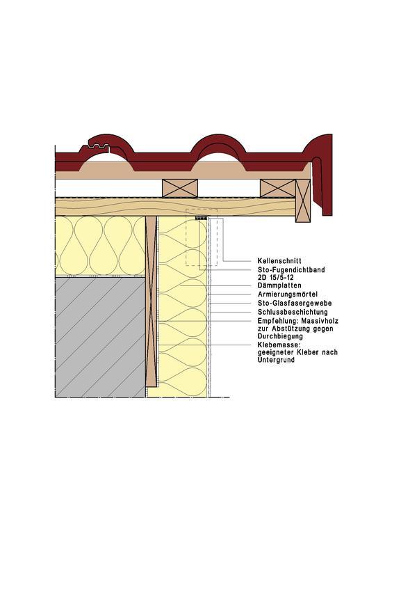 Fassadendämmsystem mit Anschluss an den Giebel. Bild: Sto AG