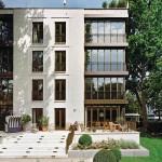 Die Wintergärten sind Charakteristikum der Villa 1 und bilden einen Kontrast zur Fassade.