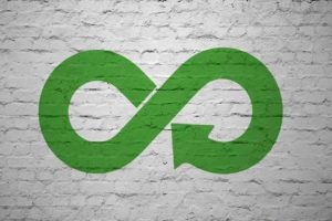 Symbol Kreislaufwirtschaft auf Mauerwerk