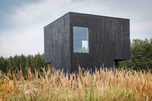 Holzfassade aus karbonisiertem Holz