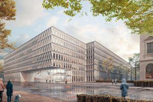 Entwurfsansicht der mit einem 1. Preis ausgezeichneten Büros JSWD Architekten, Köln und RMP Stephan Lenzen Landschaftsarchitekten, Bonn für die Erweiterung für das Bundesumweltministerium in Berlin.