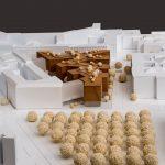 Architekturmodell der mit einem 1. Preis ausgezeichneten Büros C. F. Møller Architects, Aarhus und C. F. Møller Landscape, Aarhus für die Erweiterung des Bundesumweltministeriums in Berlin. Bild: C. F. Møller Architects, Aarhus und C. F. Møller Landscape, Aarhus