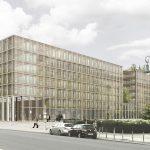 Entwurfsansicht der mit dem 3. Preis ausgezeichneten Büros Max Dudler Architekten AG, Berlin mit TOPOS Stadtplanung Landschaftsplanung Stadtforschung, Berlin für die Erweiterung des Bundesumweltministeriums in Berlin.