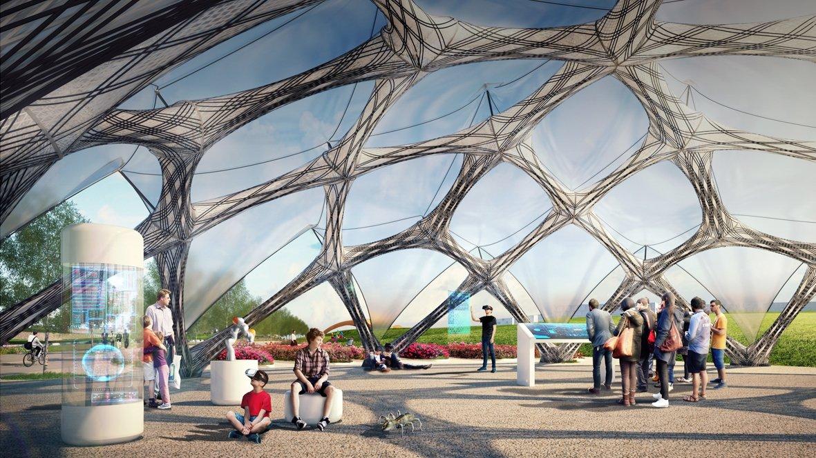 Pavillon für Bundesgartenschau - Leichtbau-Konstruktion aus Kohlefasern
