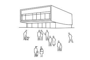 Gebäude mit Menschen, Zeichung für Positionspapier der Bundesstiftung Baukultur