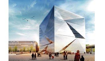 In Berlin entsteht bis Ende 2019 der Cube Berlin. Das digitalisierte Bürogebäude lernt von seinen Nutzern und passt sich deren Bedürfnissen individuell an. Bild: CA Immo