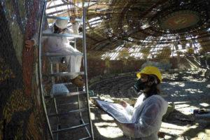 Konservierungsarbeiten am Buzludzha-Denkmal in Bulgarien