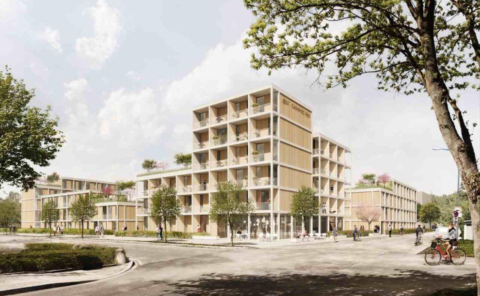 Studentenwohnheim in Rosenheim in Holzhybrid-Bauweise