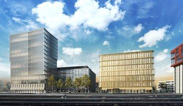 Mit einer Gesamthöhe von 60 m wird eines der Gebäude auf dem Campus der Hochschule Luzern zum höchsten Hochhaus in Holzbauweise in der Schweiz. Bild: Zug Estates