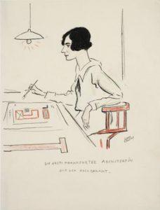 """Die Ausstellung """"Frau Architekt"""" ist ab 30. September 2017 im Architekturmuseum Frankfurt (DAM) zu sehen. M. Schütte-Lihotzky, Porträtzeichnung von Lino Salini (1927). © Lino Salini"""